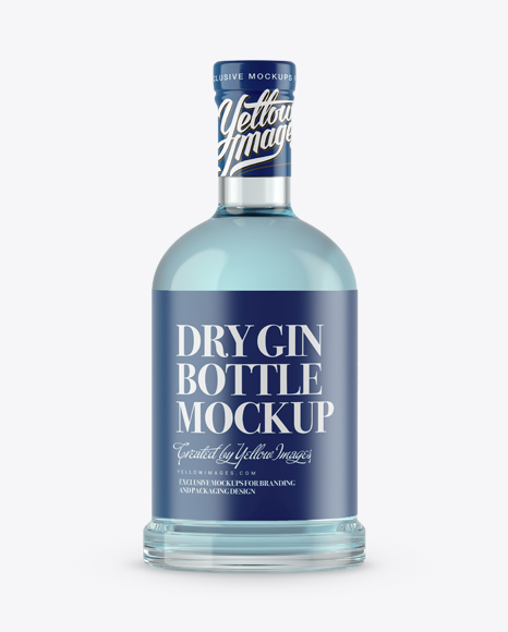 Download Clear Glass Dry Gin Bottle Mockup Object Mockups