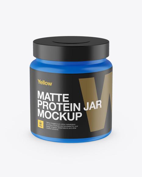 Download Matte Protein Jar Mockup - Front View (High-Angle Shot) Object Mockups