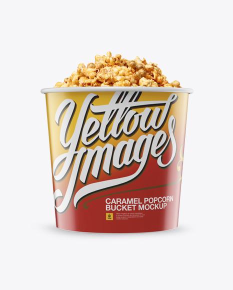 Download Large Glossy Caramel Popcorn Bucket Mockup - Front View Object Mockups