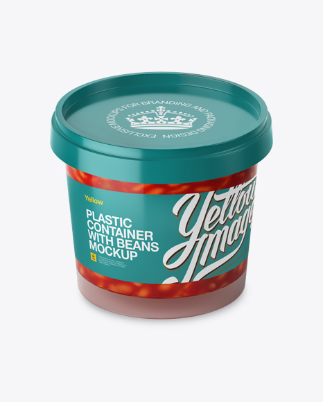 Download Glossy Plastic Container With Beans Mockup - High-Angle Shot Object Mockups