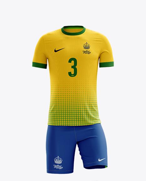 Men S Full Soccer Kit Mockup Front View In Apparel Mockups On