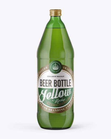 Download 40oz Green Glass Bottle with Lager Beer Mockup Object Mockups