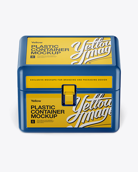 Plastic Container with Lock PSD Mockup Front View High-Angle Shot 53.67MB