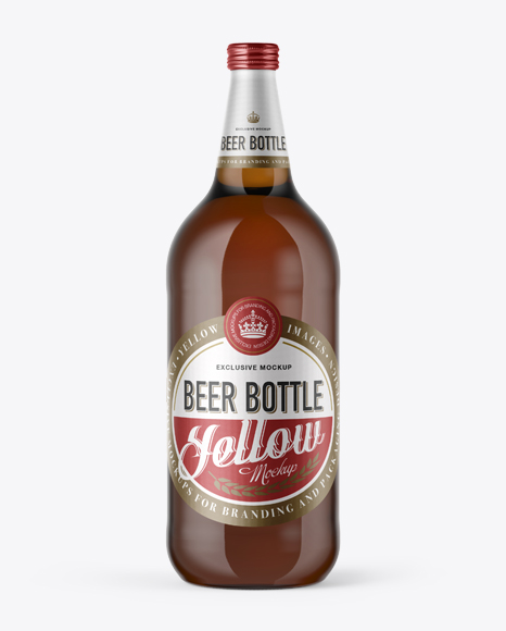 Download 40oz Amber Glass Bottle with Light Beer Mockup Object Mockups