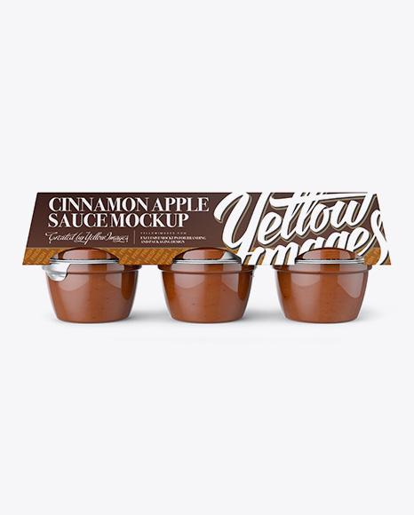 Download Cinnamon Apple Sauce 6-4 Oz. Cups Mockup - Front Vew Object Mockups