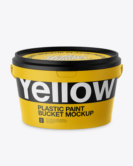 Download Plastic Paint Bucket Mockup - Front View (High-Angle Shot) Object Mockups