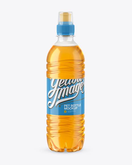 Download Orange Drink PET Bottle With Sport Cap Mockup Object Mockups