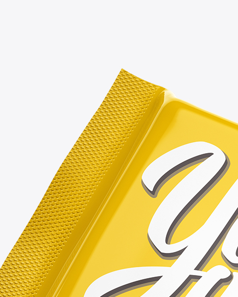 Glossy Square Chocolate Bar Mockup - Halfside View (High-Angle Shot)