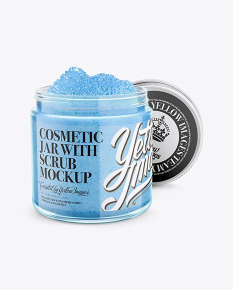 Download Open Cosmetic Jar with Scrub Mockup - Halfside Object Mockups