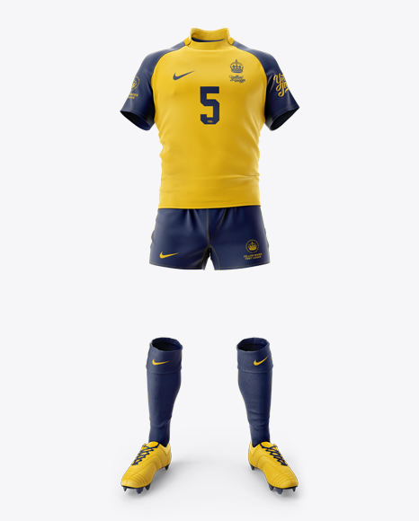 Men's Full Rugby Kit HQ PSD Mockup Front View 49.32MB