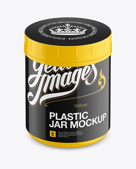 Download Glossy Plastic Jar Mockup - Front View (High-Angle Shot) Object Mockups