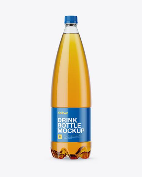 Download 1L Clear PET Bottle with Orange Drink Mockup - Front View Object Mockups