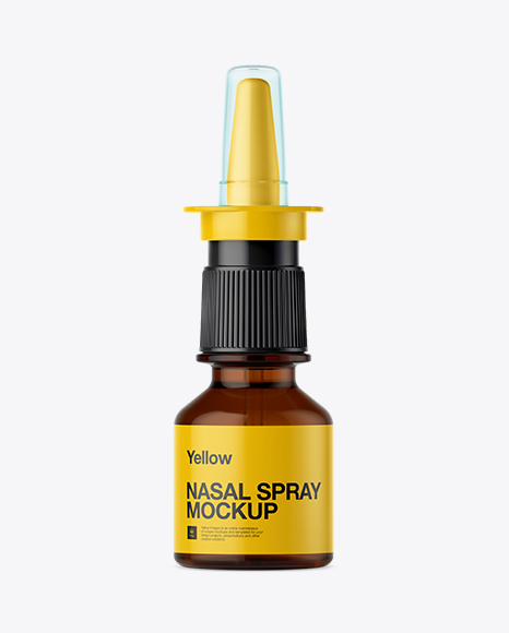 Download Amber Nasal Spray Bottle Mockup - Front View Object Mockups