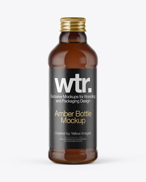 Download Amber Glass Bottle w/ Metal Cap Mockup Object Mockups