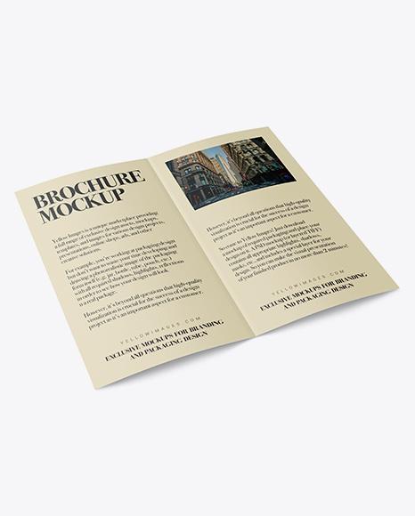 Open Bi-Fold Brochure PSD Mockup Halfside View Top 31.11MB