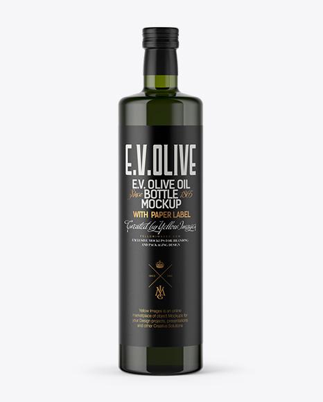 Download 1L Green Glass Olive Oil Bottle Mockup Object Mockups