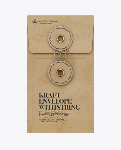 Kraft Envelope With String PSD Mockup Front View 183.48MB