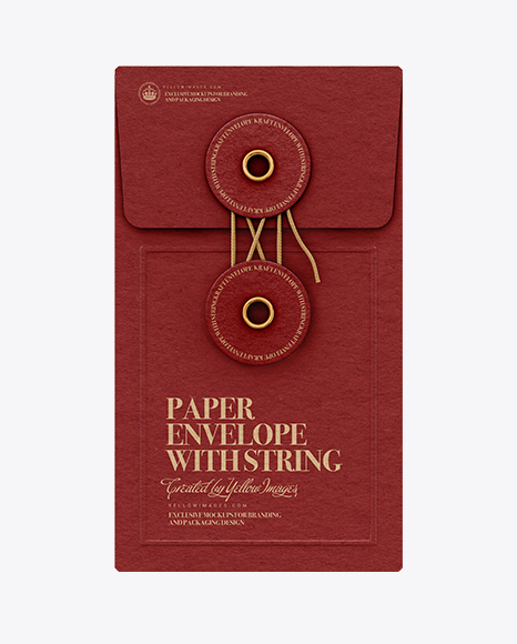 Paper Envelope With String PSD Mockup Front View 222.52MB