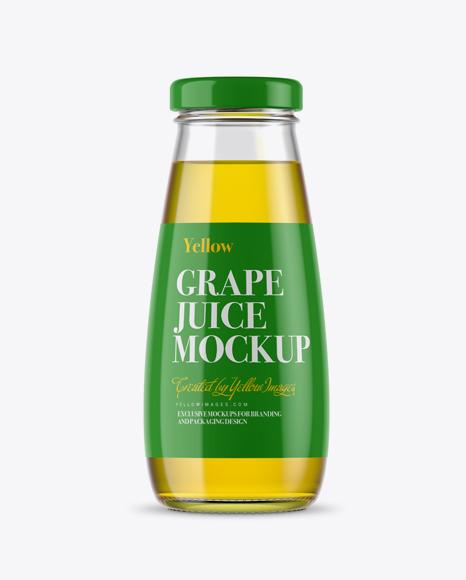 free psd mockup 330ml clear glass grape juice bottle mockup object