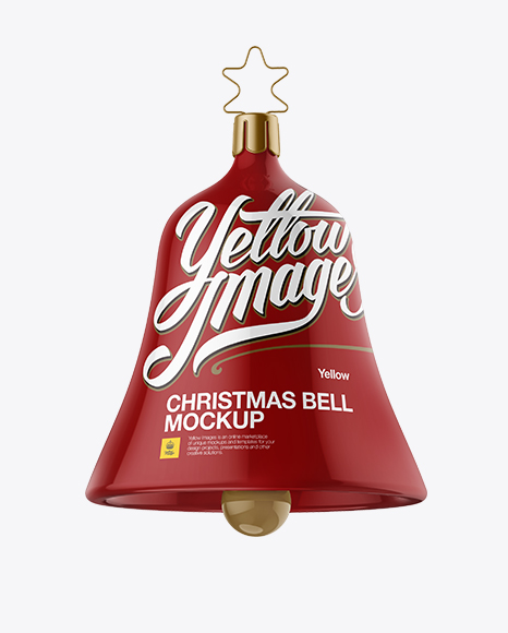 Glossy Christmas Bell PSD Mockup Front View 25.96MB