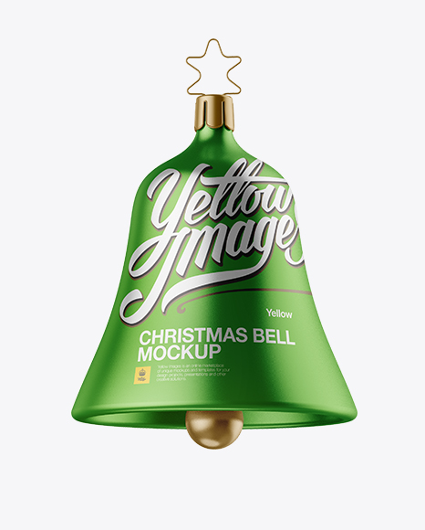 Metallic Christmas Bell PSD Mockup Front View 39.86MB