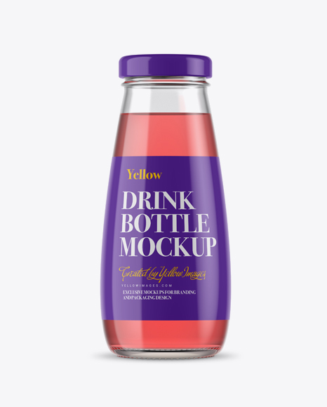 Download 330ml Clear Glass Bottle with Pink Drink Mockup Object Mockups