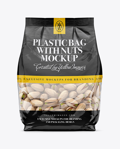 Download Clear Bag With Pistachio Nuts Mockup - Front View Object Mockups
