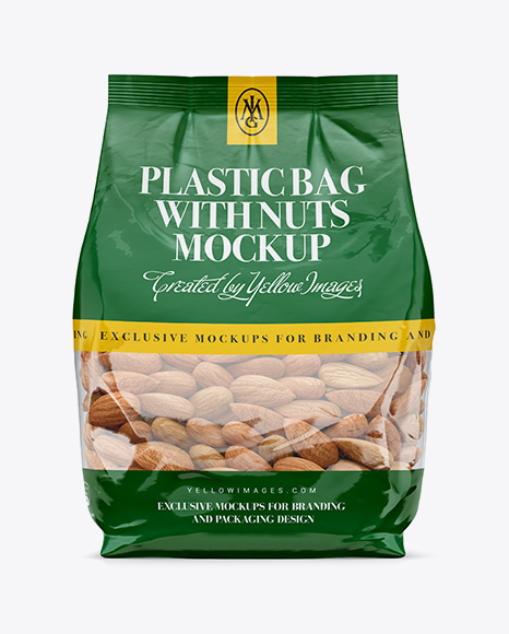 Download Clear Bag With Almonds Mockup - Front View Object Mockups