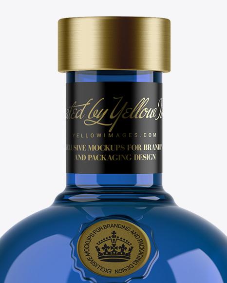 1L Blue Glass Dry Gin Bottle Mockup