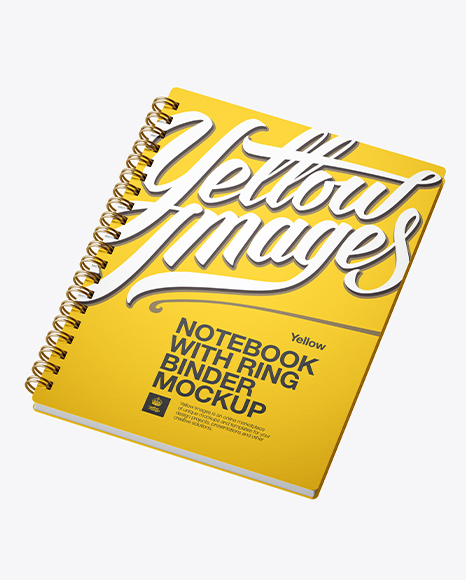 Notebook With Ring Binger PSD Mockup Halfside View High-Angle Shot 70.5MB
