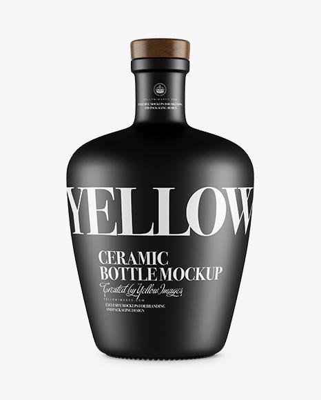 Ceramic Bottle With Wooden Cork PSD Mockup 34.77MB