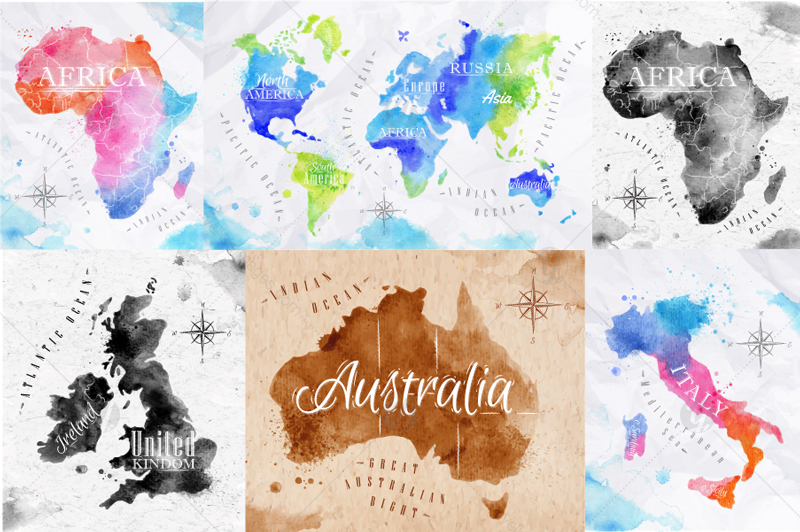 Watercolor world map in graphics on yellow images creative store watercolor world map gumiabroncs Image collections