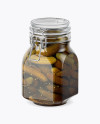 900ml Pickled Cucumbers Glass Jar w/ Clamp Lid Mockup - Half Side View
