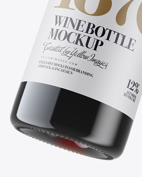 Antique Green Bottle with Red Wine Mockup