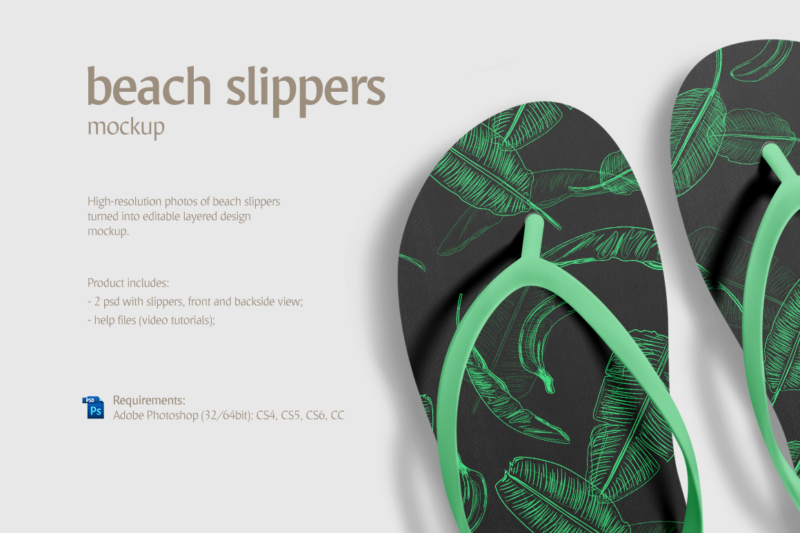 cc0e481800b072 Beach Slippers Mockup in Apparel Mockups on Yellow Images Creative Store