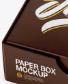 Glossy Paper Box Mockup - Half Side View (High-Angle Shot)