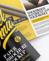Glossy Paper Brochure Mockup - High-Angle Shot