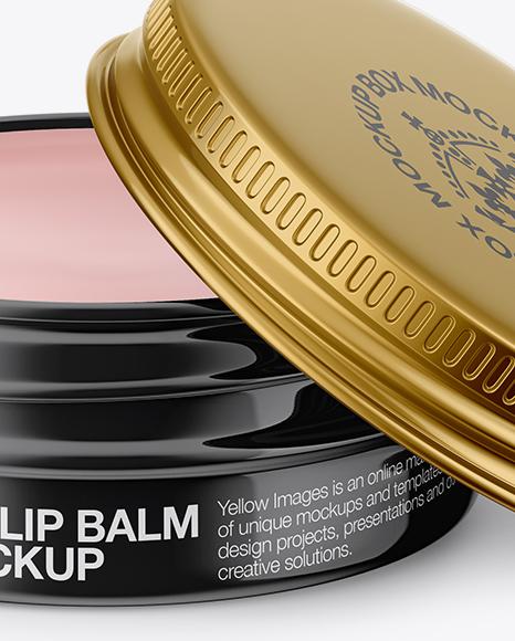 Opened Glossy Lip Balm Tin Mockup - Front View (High-Angle Shot)