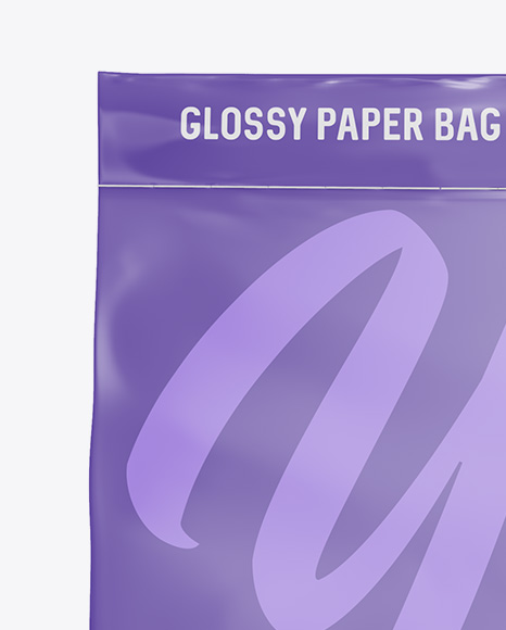 Stitched Glossy Paper Bag Mockup - Front View