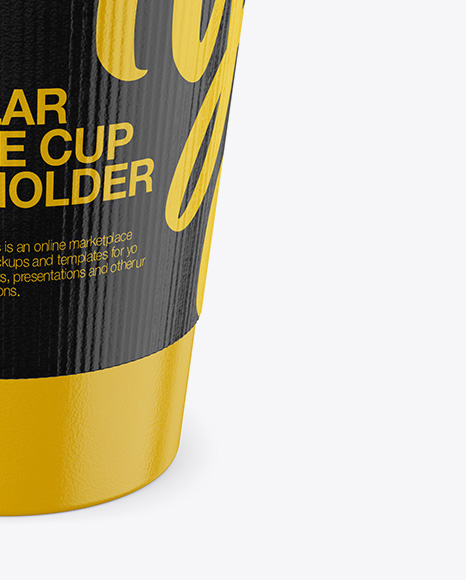 Regular Coffee Cup With Holder – Front View (High Angle Shot)