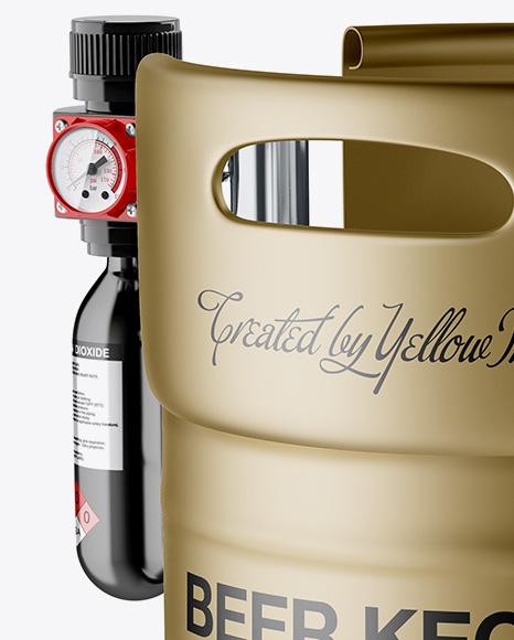 Matte Metallic Beer Keg Mockup - Half Side View