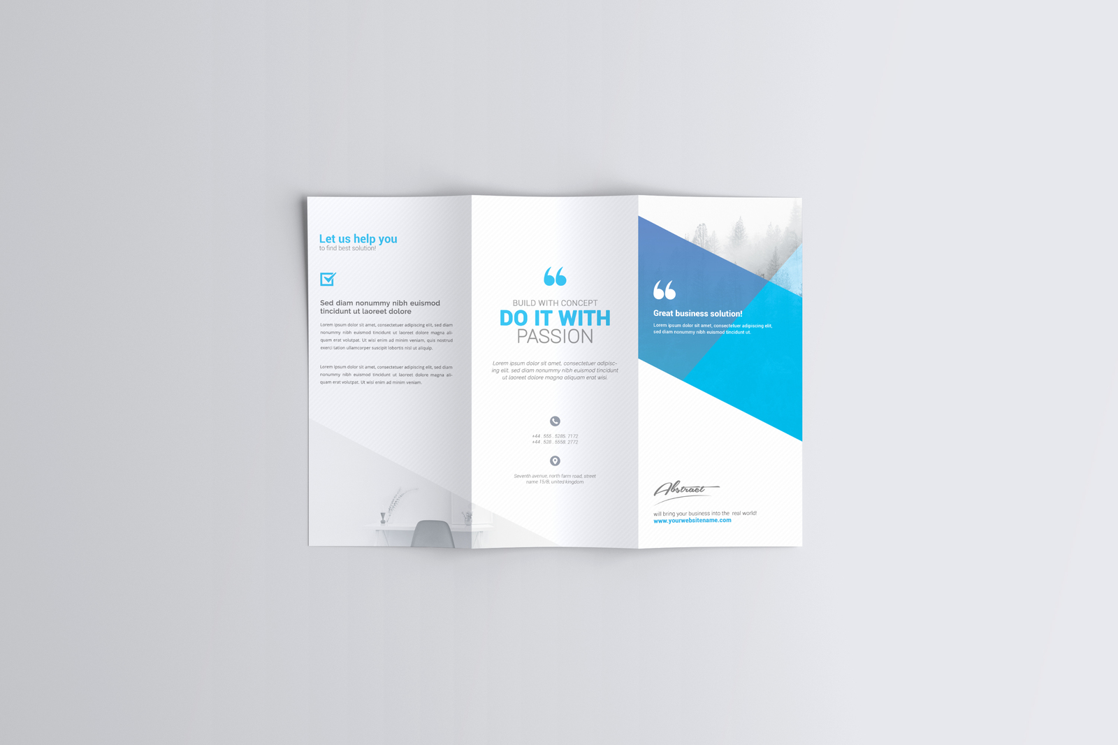 a4 trifold brochure mockup in stationery mockups on yellow images