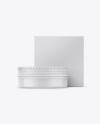 Glossy Lip Balm Tin With Matte Box Mockup - Front View