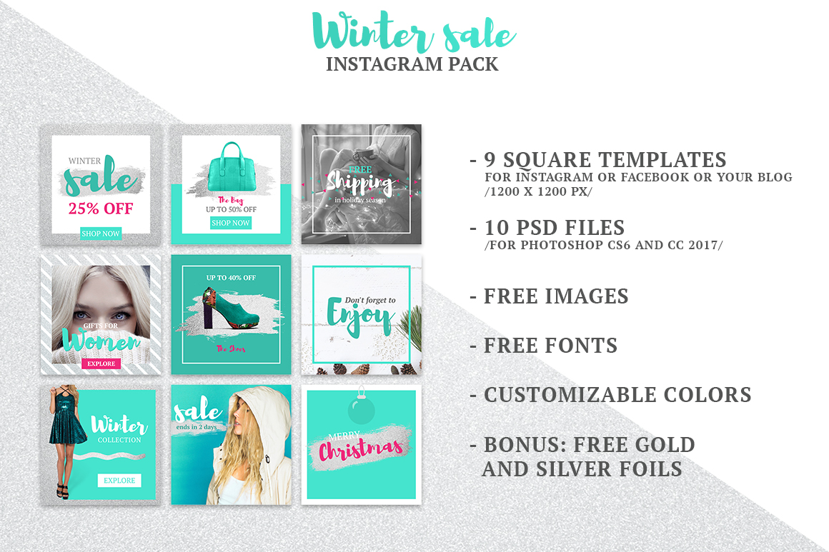 Wintersale Instagram Pack In Social Media Templates On Yellow