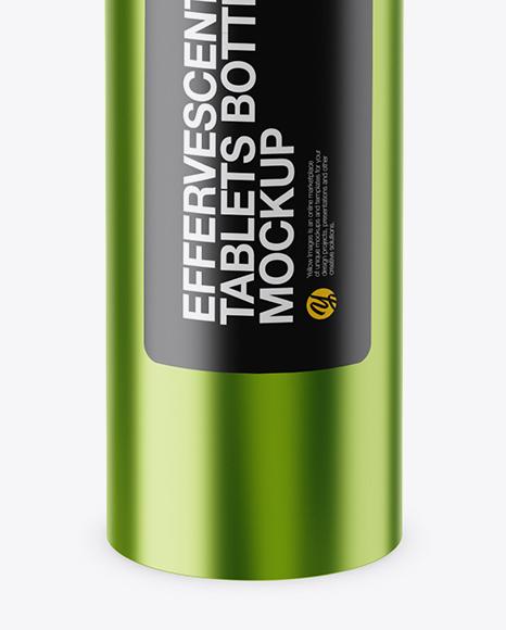Metallic Effervescent Tablets Bottle Mockup (High-Angle Shot)