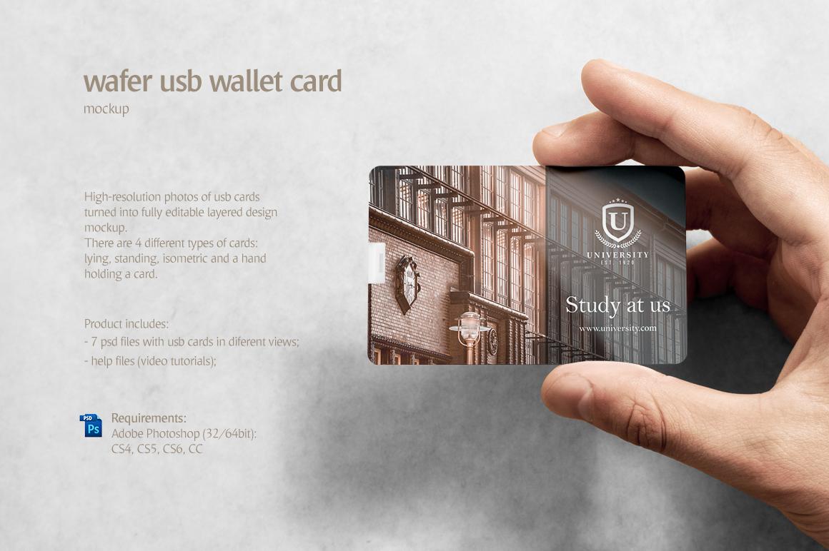 Wafer usb wallet card mockup in device mockups on yellow images wafer usb wallet card mockup reheart Images