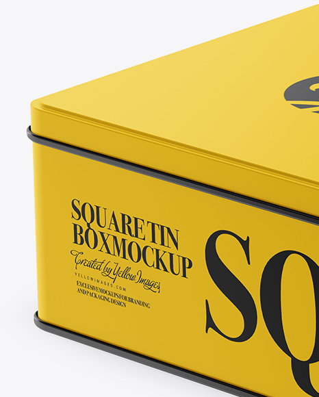 Glossy Square Tin Box Mockup - Half Side View (High-Angle Shot)