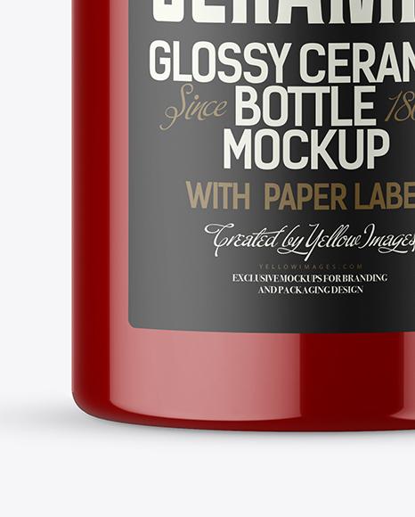 Glossy Ceramic Bottle Mockup