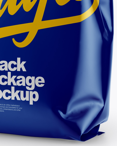 Glossy Snack Package Mockup - Half Side View
