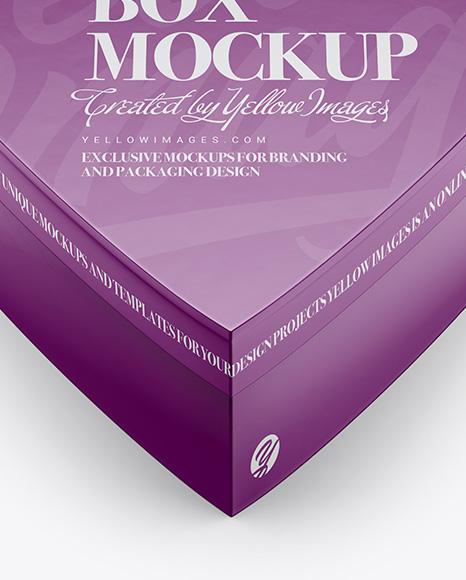 Heart Shaped Glossy Carton Box Mockup - High-Angle Shot